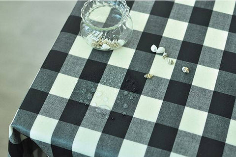Laminated Black Plaids Cotton Fabric 100816