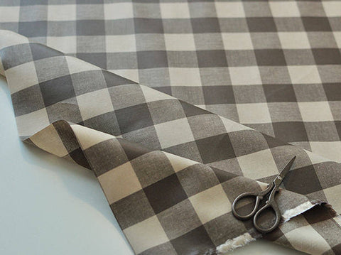 Laminated Brown Plaids Cotton Fabric, 3 cm Plaid Laminate 100811