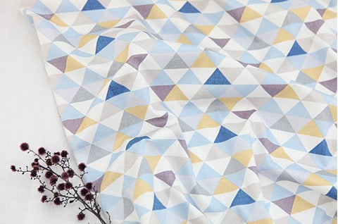 Triangles Cotton Fabric, Geometric Fabric - 62