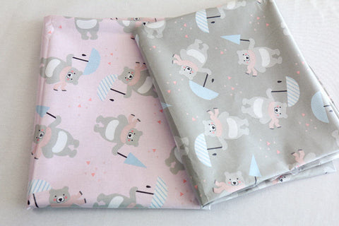 Bears Laminated Cotton Fabric - Pink or Gray - By the Yard 103761