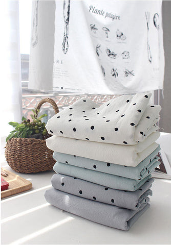 6 mm Polka Dots Cotton Fabric, Solid Fabric, Bio Washing - White Ivory, Mint or Gray - By the Yard 104444