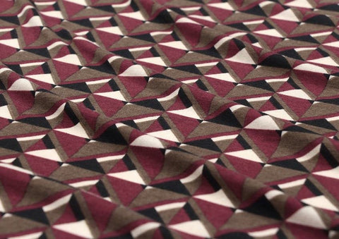 Geometric Cotton Poly Knit Fabric, Jersey Knit Fabric, Geometric Knit Fabric - Purple - 57