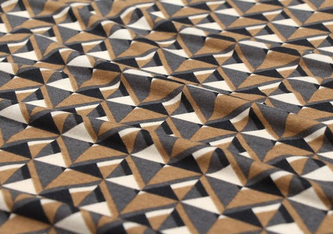 Geometric Cotton Poly Knit Fabric, Jersey Knit Fabric, Geometric Knit Fabric - Cinnamon - 57