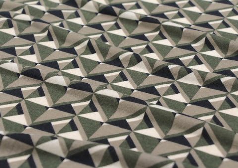 Geometric Cotton Poly Knit Fabric, Jersey Knit Fabric, Geometric Knit Fabric - Green - 57
