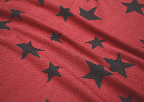 Stars French Terry Knit Fabric, Stretchy Fabric - Red - Fabric By the Yard 93537 GJ