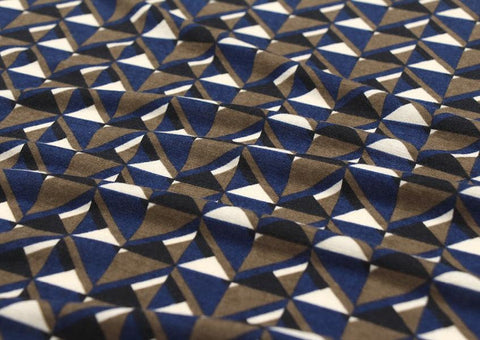 Geometric Cotton Poly Knit Fabric, Jersey Knit Fabric, Geometric Knit Fabric - Blue - 57