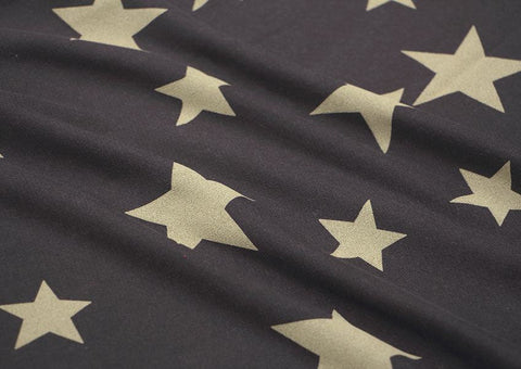 Stars French Terry Knit Fabric, Stretchy Fabric - Dark Brown - Fabric By the Yard 93535 GJ
