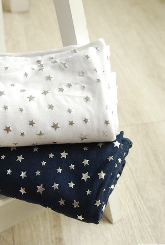 Stars Stretchy Cotton Knit Fabric - White or Navy