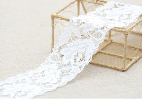 3 Yards Stretchy Rachel Lace  - White - By 3 Yards GJ 71285