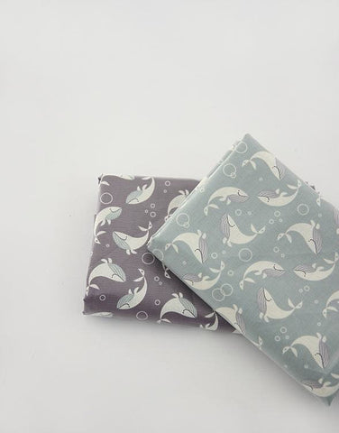 Whales Laminated Cotton Fabric - Mint or Gray - By the Yard 1