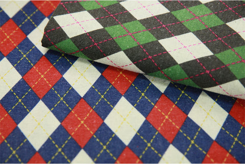 (NEW!) Brushed Argyle Cotton Fabric - Red Blue or Green Brown - By the Yard 105908