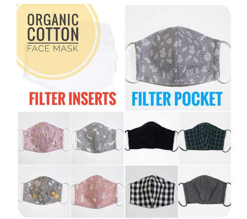 (Featured!) Washable Organic Face Mask with Filter Pocket, 10 Filter Inserts (Optional), Anti-Dust Mask, Flex Nose Wire, Adult or Child Size, 9 Patterns, Made in Korea