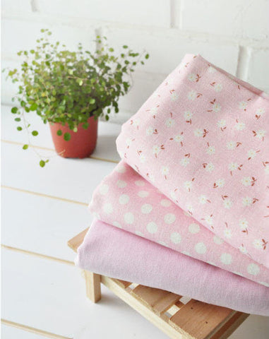 Cotton Linen Baby Pink - Flowers, White Polka Dot or Solid - By the Yard 10755