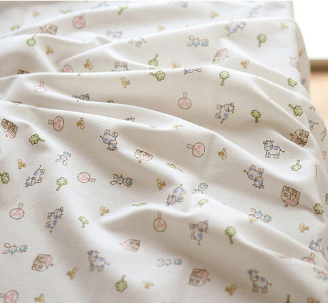 Baby Cotton Interlock Knit Fabric, Farm Story  per Yard 10259