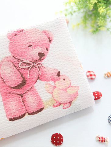 Cotton Fabric Seersucker Teddy Bear - Pink - per Yard 35829