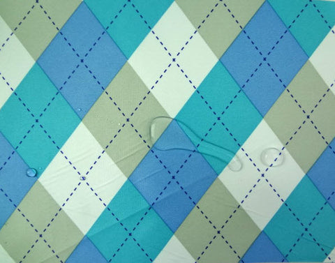 Waterproof Argyle Check Blue per Yard WM-135
