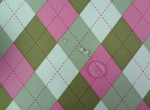 Waterproof Argyle Check Pink per Yard WM-135