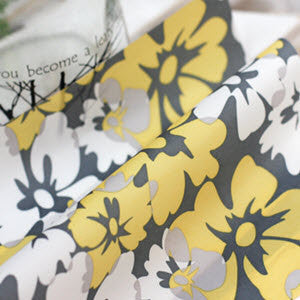 Waterproof Fabric White Yellow Flowers per Yard WM 10385
