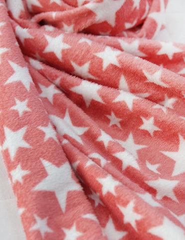 3 mm Double-Sided Minky Pastel Stars in Coral Peach per Yard C15860