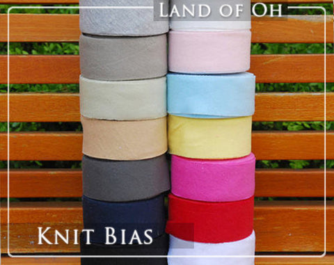 Cotton Interlock Knit Bias Tape in 15 Colors 3.8 cm (1.5 inch) Wide 21248 - 65
