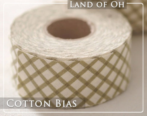 4 cm Cotton Bias by the roll 3 mm Khaki Checkered 13 Yards 26464