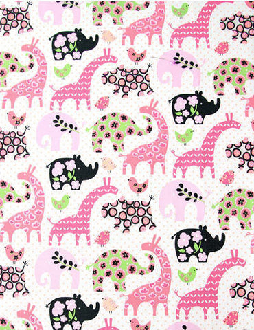 Animal Land Oxford Cotton Fabric - Giraffe Elephant Bird Rhino - Pink - per Yard (43 x 36