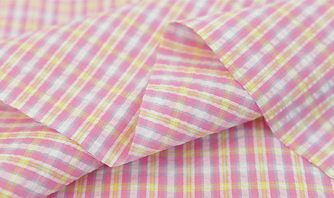 Cotton Seersucker 5 mm Plaid - Pink & Yellow - per Yard (43 x 36