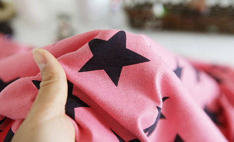 Cotton Jersey Knit Stars - Pink - per Yard (59 x 36