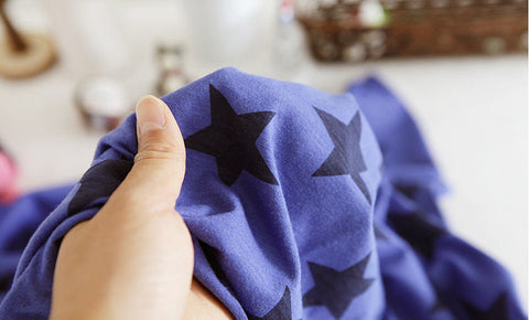Cotton Jersey Knit Stars - Blue - per Yard (59 x 36