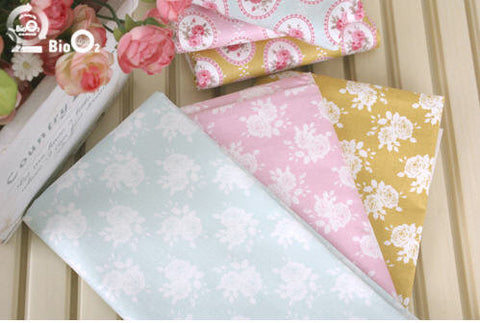 Cotton Fabric Vintage Roses - Pink, Blue or Khaki Yellow - per Yard (44 x 36