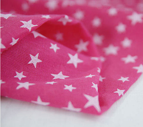 Cotton Gauze Lovely Stars - Pink - per Yard (59 x 36