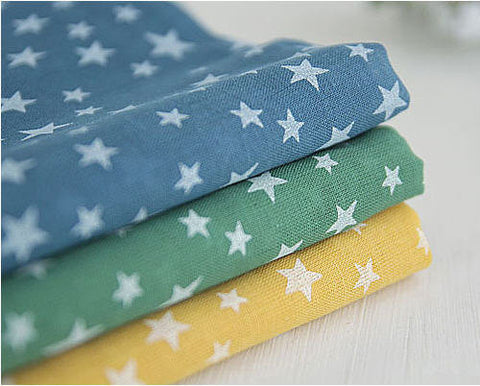 Cotton Gauze Stars Cobalt, Green or Dark Yellow per Yard (57 x 36
