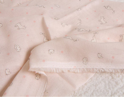 Baby Cotton Double Gauze - Birds & Chicks with Polka Dots - Pink - By the Yard - 38242