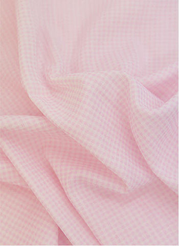 Cotton Double Gauze 2 mm Plaid - Pink - By the Yard 37595