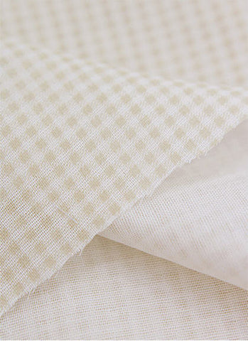 Cotton Double Gauze 2 mm Plaid Beige By the Yard 37591