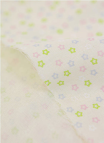Cotton Double Gauze Candy Star - Yellow - By the Yard 37586