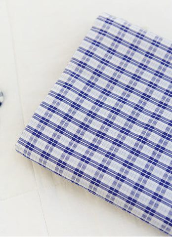 Cotton Seersucker 7 mm Plaid - Blue - By the Yard (43 x 36