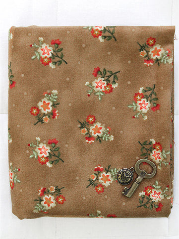 Cotton Fabric Star Flowers - Brown - By the Yard 40388