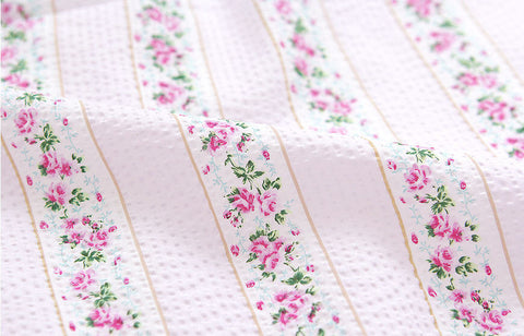 Cotton Seersucker Plisse Line Roses - Pink - By the Yard 40280