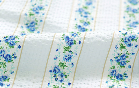 Cotton Seersucker Plisse Line Roses - Blue - By the Yard 40281