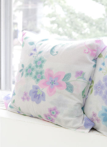 Cotton Seersucker Plisse Dream Flowers - Pink - By the Yard 40283