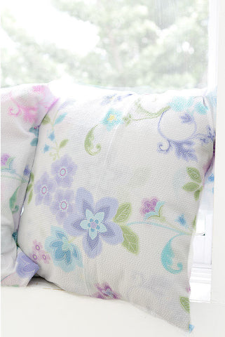 Cotton Seersucker Plisse Dream Flowers - Blue - By the Yard 40284