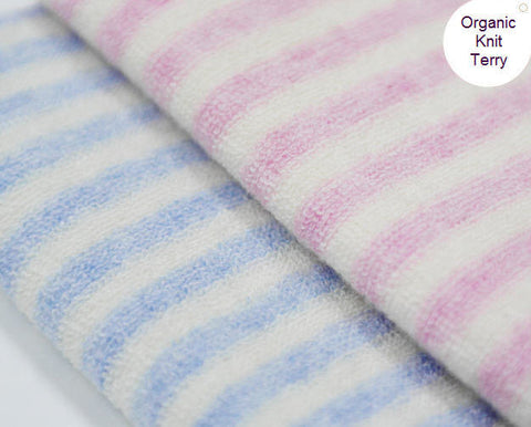 Organic Cotton Knit Terry Cloth - Melange Pink or Melange Blue - By the Yard 77700