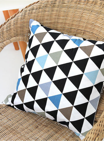 Contemporary Triangles Oxford Cotton Fabric Geometric, Mix of Black Khaki Blue on White Ivory, Home Decor Fabric - By the Yard 40741 - 214