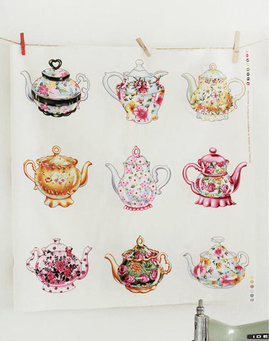 Antique Flower Teapots Cotton Panel By the Panel 42269