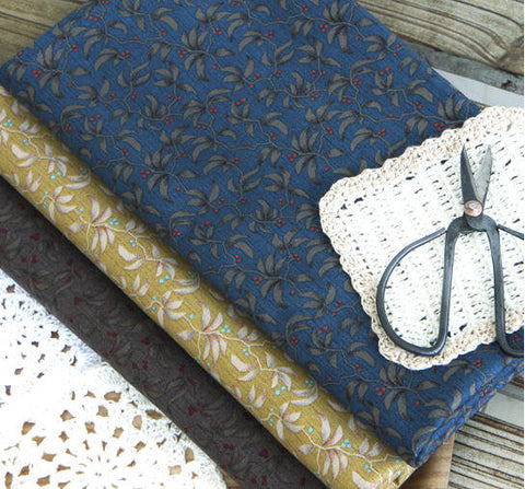 Antique Fruits Cotton Fabric - Mustard, Brown or Navy - By the Yard 43329
