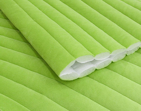 Machine Quilted Smooth Minky Fabric - Lime Green - By the Yard 44881