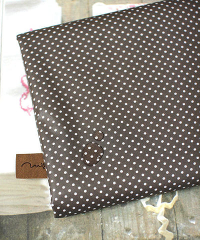 Laminated Cotton Blend 2mm Tiny Dot Series in Brown 46214