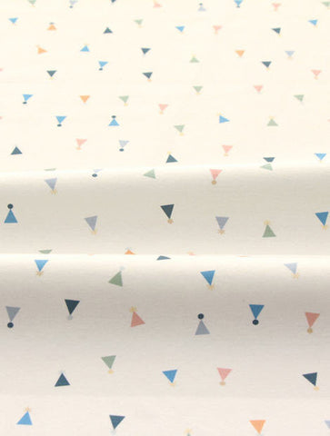 Cotton Interlock Knit - Colorful Triangles - White Ivory - By the Cut (33 x 35