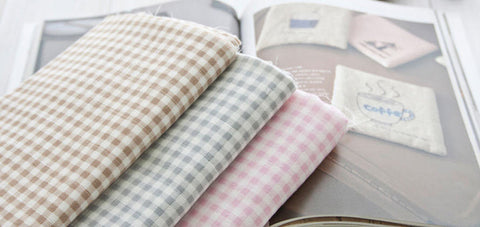 Cotton Double Gauze Soft Plaid - Pink, Beige or Gray - By the Yard (47 x 36